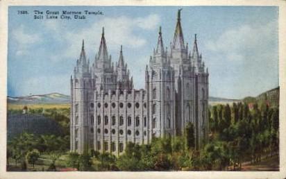 The Great Mormon Temple - Salt Lake City, Utah UT Postcard