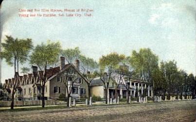 Lion and Bee Hive Houses - Salt Lake City, Utah UT Postcard