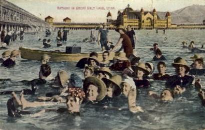 Bathing in Great Salt Lake - Salt Lake City, Utah UT Postcard