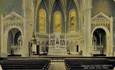Interior Catholic Cathedral - Salt Lake City, Utah UT Postcard