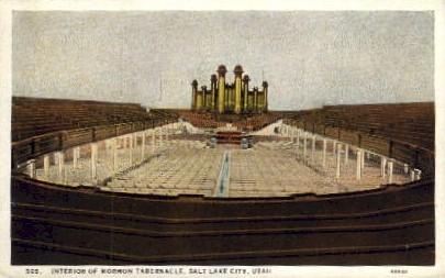 Interior of Mormon Tabernacle - Salt Lake City, Utah UT Postcard
