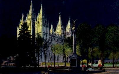 Mormon Temple at Night - Salt Lake City, Utah UT Postcard