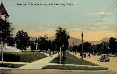 Temple Street - Salt Lake City, Utah UT Postcard