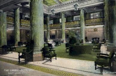 Hotel Utah Lobby - Salt Lake City Postcard
