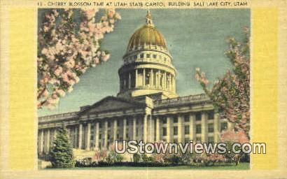 Cherry Blossom, State Capitol Bldg - Salt Lake City, Utah UT Postcard