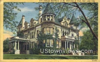 Official Residence of the Governor of Utah - Salt Lake City Postcard