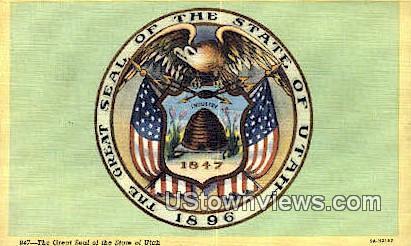 Great Seal of Utah - Salt Lake City Postcard