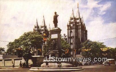Bringham Young Monument - Salt Lake City, Utah UT Postcard