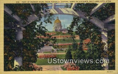 Memory Park, Pergola - Salt Lake City, Utah UT Postcard