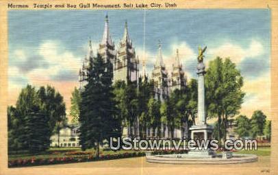 Mormon Temple & Sea Gull Monument - Salt Lake City, Utah UT Postcard