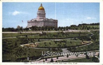 Memory Park, State Capitol - Salt Lake City, Utah UT Postcard