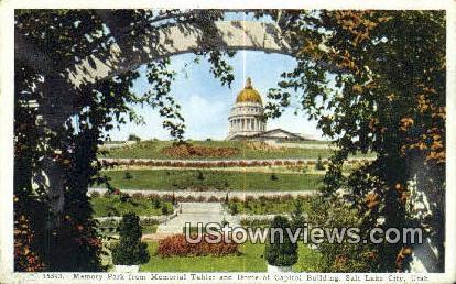 Memory Park, Memorial Tablet - Salt Lake City, Utah UT Postcard