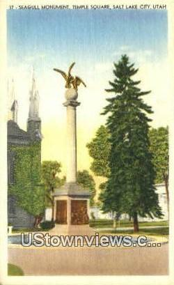Seagull Monument, Temple Square - Salt Lake City, Utah UT Postcard
