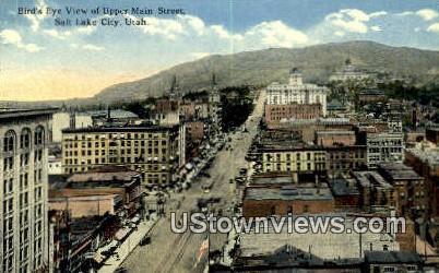 Upper Main Street - Salt Lake City, Utah UT Postcard