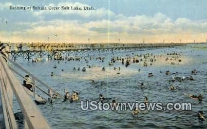 Bathing at Saltair - Great Salt Lake, Utah UT Postcard