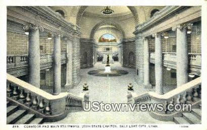Corridor, Main Stairways, Capitol - Salt Lake City, Utah UT Postcard