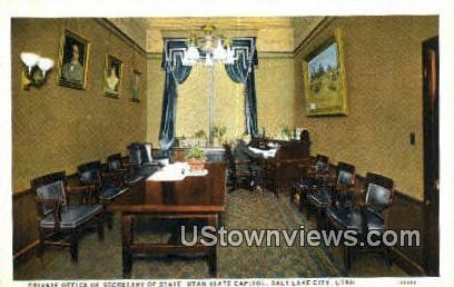 Secretary of State, Capitol - Salt Lake City, Utah UT Postcard