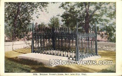 Brigham Young's Grave - Salt Lake City, Utah UT Postcard