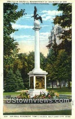 Sea Gull Monument, Temple Grounds - Salt Lake City, Utah UT Postcard