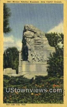 Mormon Battalion Monument, Capitol - Salt Lake City, Utah UT Postcard