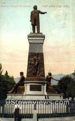 Bringham Young Monument - Salt Lake City, Utah UT Postcard