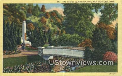 Bridge, Memory Park - Salt Lake City, Utah UT Postcard