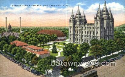 Mormon Temple Grounds - Salt Lake City, Utah UT Postcard