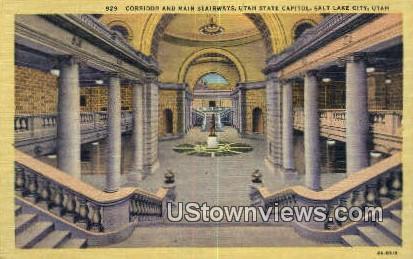 Corridor, Main Stairways, Capitol - Salt Lake City, Utah UT Postcard