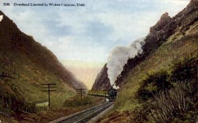 Overland Limited - Weber Canyon, Utah UT Postcard