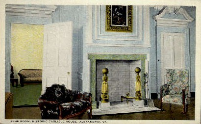 Blue Room of the Carlyle House - Alexandria, Virginia VA Postcard