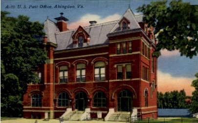 U.S. Post Office - Abingdon, Virginia VA Postcard