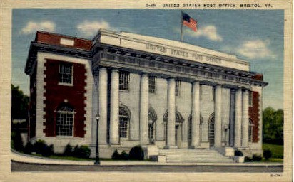 U. S. Post Office - Bristol, Virginia VA Postcard