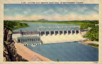 Claytor Dam, Peaks Knob - Misc, Virginia VA Postcard