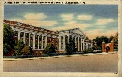 Medical School and Hospital, U of Va - Charlottesville, Virginia VA Postcard
