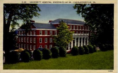 University Hospital, University of VA - Charlottesville, Virginia VA Postcard
