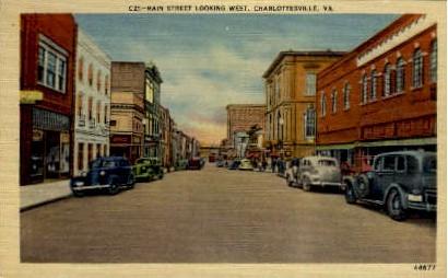 Main Street - Charlottesville, Virginia VA Postcard