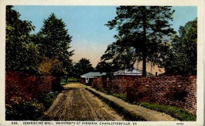 Serpentine Wall, University of VA - Charlottesville, Virginia VA Postcard