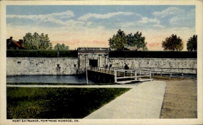 Fort Entrance - Fortress Monroe, Virginia VA Postcard