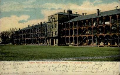 Typical Army Barracks - Fortress Monroe, Virginia VA Postcard