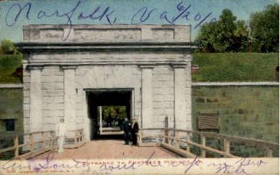 Entrance to Fort - Fortress Monroe, Virginia VA Postcard