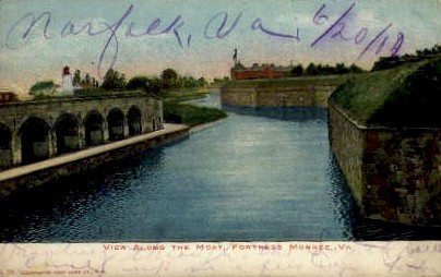 The Moat - Fortress Monroe, Virginia VA Postcard