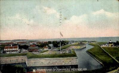 Panorama - Fortress Monroe, Virginia VA Postcard