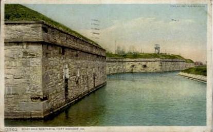 Moat and Ramparts - Fort Monroe, Virginia VA Postcard