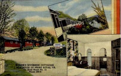 Bower's Riverside Cottages - Front Royal, Virginia VA Postcard