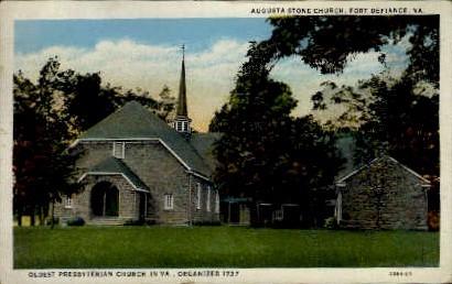 Augusta Stone Church - Fort Defiance, Virginia VA Postcard