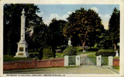 National Cemetery - Fredericksburg, Virginia VA Postcard