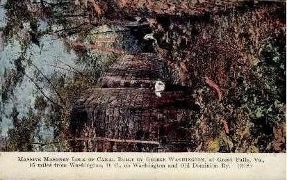 Massive Masonry Lock of Canal - Great Falls, Virginia VA Postcard