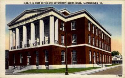 U. S. Post Office - Harrisonburg, Virginia VA Postcard