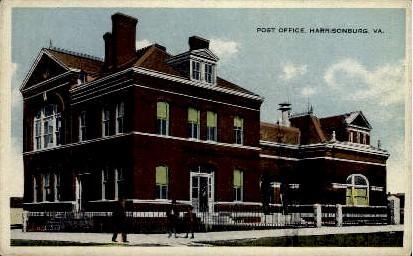 Post Office - Harrisonburg, Virginia VA Postcard