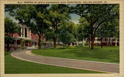 South Quadrangle with Dormitories - Hollins College, Virginia VA Postcard